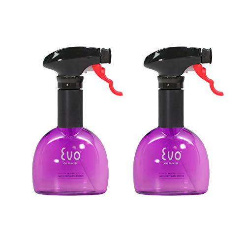 Evo Oil Sprayer Bottle, Non-Aerosol for Olive Cooking Oils, 8-ounce Capacity, Set of 2, Purple