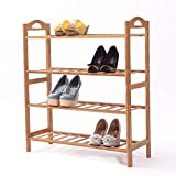 SogesHome Estante organizador de zapatos de bambú de 4 niveles para ahorrar espacio y versátil para entrada, sala de estar, dormitorio, cocina, 67 x 24 x 73 cm, SH-XJ-4-D