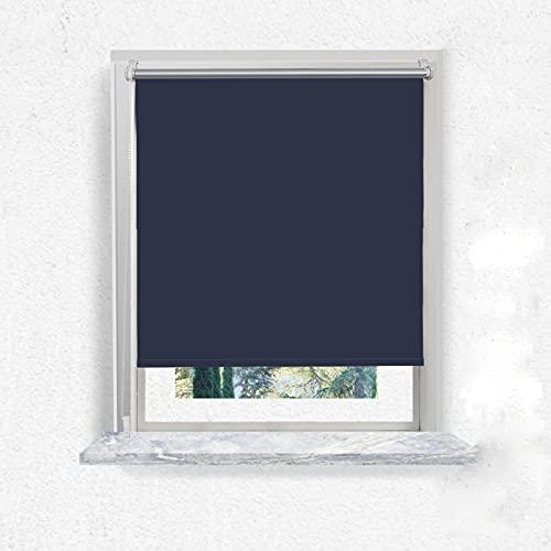 i@HOME Verdunkelungsrollos Thermorollo Ohne Bohren,Fensterrollo Innen Sonnenschutz für Fenster & Tür Navy Blau 90 x 150 cm(stoffbreite ca.86cm)