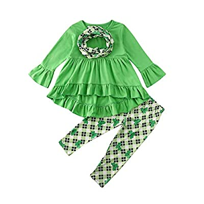 Toddler Kid Baby Girls St. Patrick's Day Outfits Long Sleeve Top Blouse Dress Four-Leaf Clover Pants Scarf Set 6M-5Y (6-12M, Green)