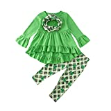 Toddler Kid Baby Girl St. Patrick's Day Outfits Clover Long Sleeve Tunic Dress Tops Leggings Pants Scarf 3PCS Clothes Set (Green, 2-3 Year)