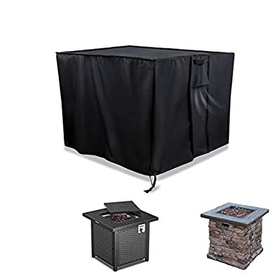 POMER Fire Pit Cover Square 28x28x25inch,600D Heavy Duty PVC Waterproof Patio Brazier Cover for 28in Gas Fire Table
