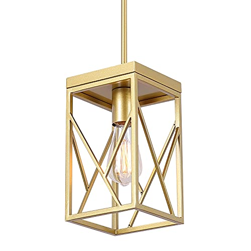 Modern Gold Pendant Light with Metal Cage, One-Light Adjustable Rods Mini Pendant Lighting Fixture for Kitchen Island Cafe Bar Farmhouse