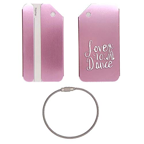 Love To Dance Ballet Slippers Stainless Steel - Engraved Luggage Tag - Set Of 2 (Rose Gold) - For Any Type Of Luggage, Suitcases, Gym Bags, Briefcases, Golf Bags