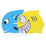 IPOW 2 PCS - Gorros de natación para niños Silicona no tóxica Antideslizante, Impermeable, para el Cuidado del Cabello para niños y Adolescentes, Azul y Amarillo