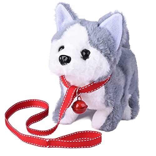 WorWoder Plush Husky Dog Toy Puppy Electronic Interactive Pet Dog - Walking  Barking  Tail Wagging  Stretching Companion Animal for Kids (Husky Dog)
