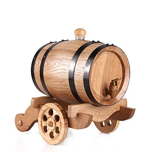 3L eiken vat Houten Aging Barrel gebruikt for het opslaan of Aging whisky, bier, wijn, whisky, cognac, hete saus, etc (Color : A, Size : 3L)