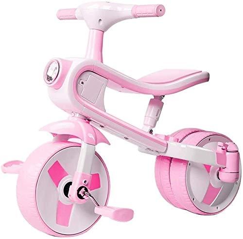 Xiaoyue Fahrräder Kinder Dreirad Fahrrad 3-4-5-6 Jahre alt männliche und weibliche Fahrrad-Kind-Baby-Knöchel-Auto-Baby-Waage Fahrrad (Farbe: Rosa, Größe: 70x57x40cm) lalay