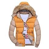 Fanteecy Men's Winter Puffer Coat Casual Fur Hooded Warm Outwear Jacket Slim Fit Contrast Coat with Detachable Hood (XXL, Yellow)