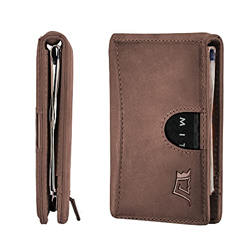 Kings Loot Wallet for Men - Traditional Minimalist Slim Leather Bifold - Holds 10 Cards (Classy Brown)