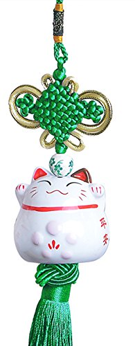 Maneki-neko Pendant - Eleganter Anhänger mit süsser Glückskatze aus Porzellan (Grün)