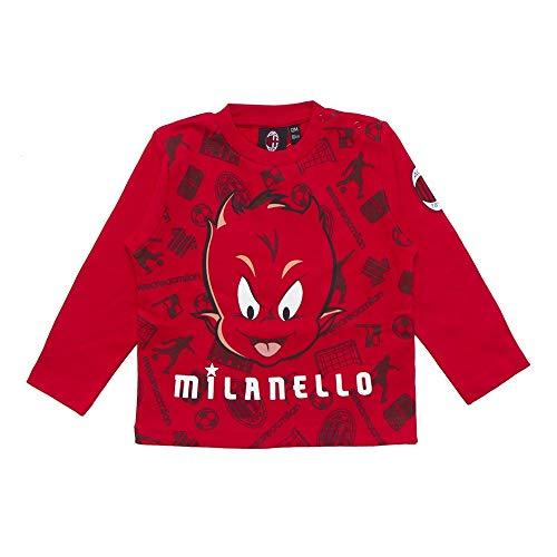 T-Shirt Neonato Maglia Manica Lunga in Caldo Cotone AC MILAN Prodotto Ufficiale Art. M035 (18 Mesi)