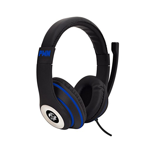 Audio Council PWN Gaming Headset with Stereo Over Ear Gamer Headphones, Adjustable Microphone, Inline Volume Control Mic PS4 PC WiiU Xbox Smartphones PC Tablets (Black/Blue) Headsets