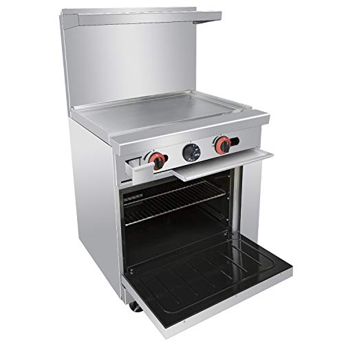 """Commercial Gas Range, 24"""" Heavy Duty Range With Standard Oven and Griddle, Liquid Propane Cooking Performance Group for Kitchen Restaurant, 72,000 BTU"""