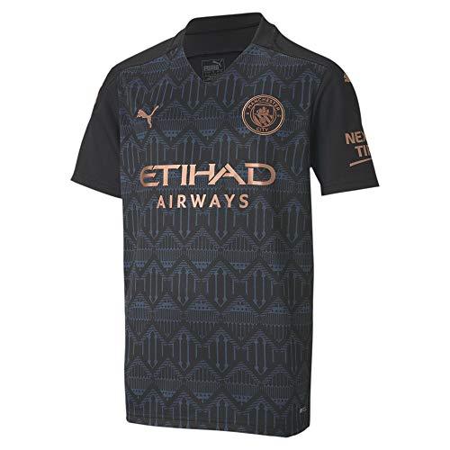 PUMA Manchester City Temporada 2020/21-AWAY Shirt Replica SS Jr with Spon Camiseta Segunda Equipación, Unisex niños, Black/Dark Denim, 128