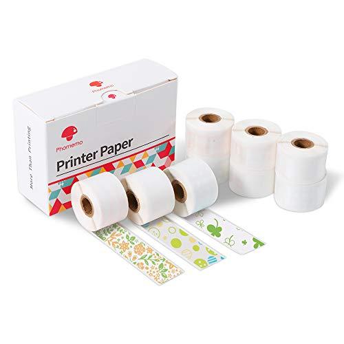 Phomemo M02S/M02 PRO用 純正 テープ 15mm 感熱ロール紙 ポータブルBluetoothポケットモバイルプリンター用 印刷用紙 接着剤ある 感熱用紙 15mm*3.5m 9巻セット