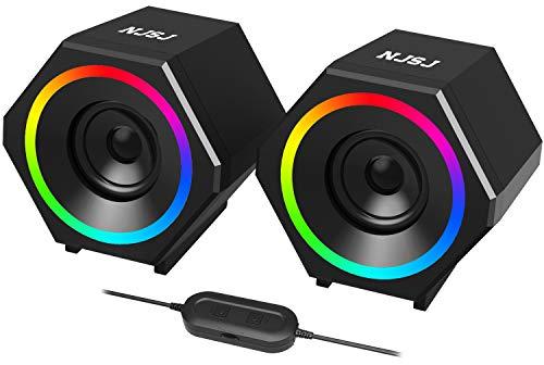 Preisvergleich Produktbild NJSJ PC Lautsprecher, USB Computer Lautsprecher 10W Stereo Gaming Lautsprecher system mit farbenfroher LED Beleuchtung für Desktop Notebook
