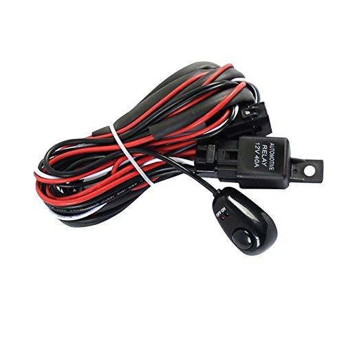 YUOP Arnés de cableado de 2 m para coche, kit de arnés de cableado con interruptor de encendido y apagado de 40 A, 12 V, fusible de cuchilla para lámpara antiniebla de 72 W-300 W