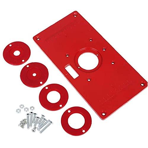LNHJZ Placa de inserción de Mesa de enrutador Carpintería de Aluminio Máquina de Recorte de Bricolaje Accesorios de Herramientas de Tablero abatible Rojo 235 mm x 120 mm x 8 mm Herramientas manuales