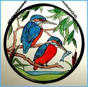 Decorative Hand Painted Stained Glass Window Sun Catcher/Roundel in a Kingfishers Design.