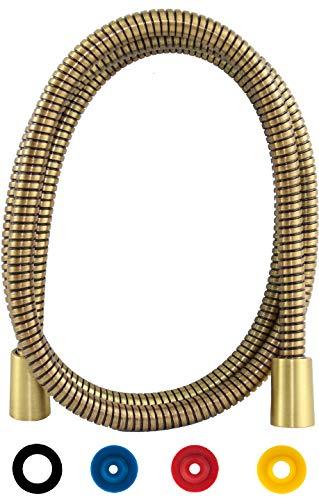 SANTRAS® Metall Duschschlauch DELUXE Bronze 1,25 m mit Durchflussbegrenzer – Besonders flexibler Brauseschlauch aus Messing MADE IN GERMANY