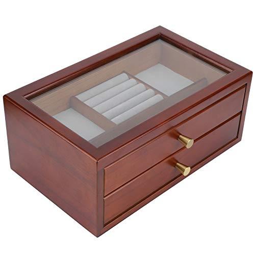 KUIDAMOS Joyero de Madera, 31.3x19.4x13.5cm, Caja organizadora de Joyas de Dos Capas, Caja de joyería para Mujeres, Vitrina de Madera, Caja de Viaje portátil para Joyas