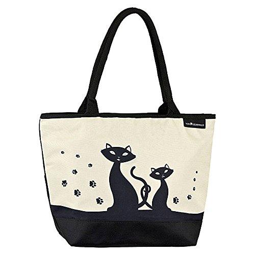 VON LILIENFELD Tasche Damen Einkaufstasche Gross Kätzchen Shopper Bedruckt Motiv Schwarze Katzen