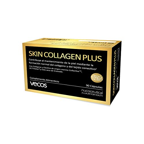 Colágeno con elastina para el cuidado de la piel – Anti arrugas con vitaminas A, B2, C, yodo, cobre y zinc para la hidratación de la dermis – 90 cápsulas