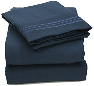 My Sweet Home 1800 Series 3-Piece Egyptian Quality Bed Sheet Set with Deep Pockets, Twin, Navy by My Sweet Home