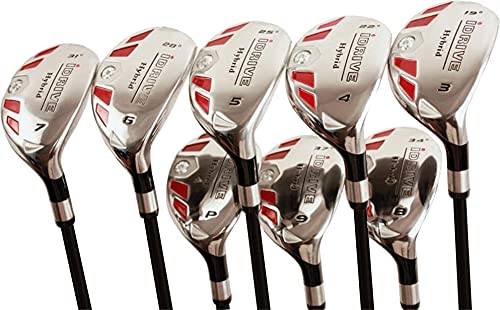 """iDrive Hybrids Senior Men's Golf All Complete Full Set, which Includes: #3, 4, 5, 6, 7, 8, 9, PW Senior Flex with Premium Men s Arthritic Grip Right Handed Utility """"A"""" Flex Clubs"""