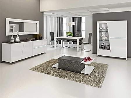 N 114 Salle A Manger Complete Gris Beton Et Blanc Laurea Amazon Fr Cuisine Maison
