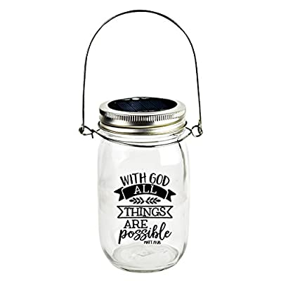 Dexsa Solar Canning Jar LED Light - Automatic and Safe, Illuminates Using Solar Power, Solar Panel, LED Glow | Modern Farmhouse | with God All Things are Possible. Matt 19:26