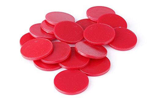 Einkaufswagenchips Einkaufschips viele Farben, einsetzbar als Spielgeld oder Spielmünzen, Farbe:brillantrot, Größe:100 Stück