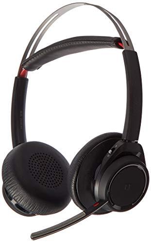 Plantronics Bluetooth-Stereo-Headset 'Voyager Focus UC' mit Ladeschale und USB-C BT-Dongle, Smart Sensoren, Mikrofonarm, Rauschunterdrückung, Schwarz