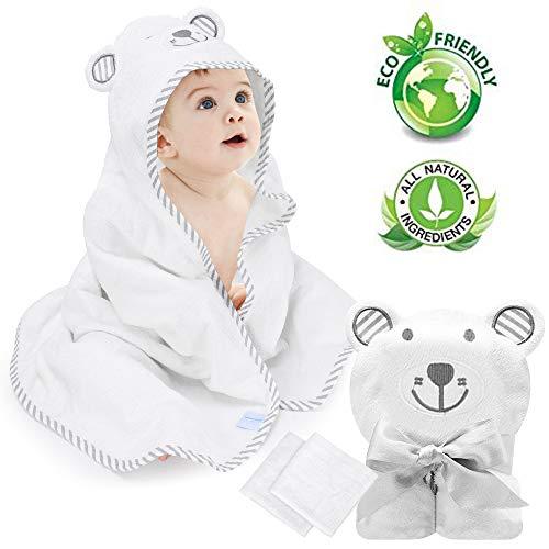 Babybadetuch Eccomum Babyhandtuch mit Kapuze, 2 Waschlappen, 100% Bio-Bambusfaser, 90 x 90, extra weich und dick, saugfähig, süße Bärenstickerei, perfektes Geschenk für Babys
