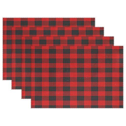Mantel Individual De Tela Escocesa Roja Y Negra Navideña Mantel Individual De Poliéster De 12 'X 18' Tapetes De Cocina Resistentes Al Calor para La Decoración del Hogar De Mesa