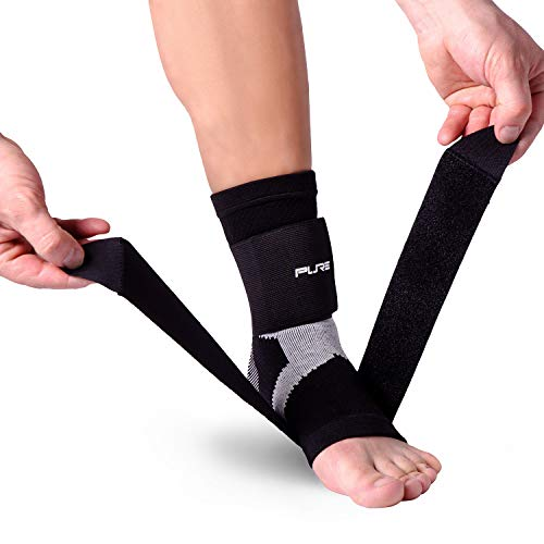 Pure Athlete Ultimate Ankle Support Brace – Compression Sleeve with Adjustable Straps for Extra Support – Running, Basketball, Soccer (Black - 1 Support, Medium)