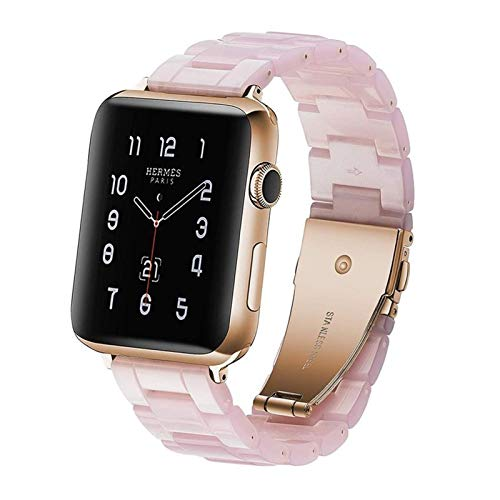 Correa de Resina Aplicar a Apple Watch Band 44 mm 40 mm 42mm 40mm WatchBand Acesoreei para iWatch Pulsera para Apple Watch Series 5 4 3 44mm (Band Color : Pink, Band Width : 42mm or 44mm)