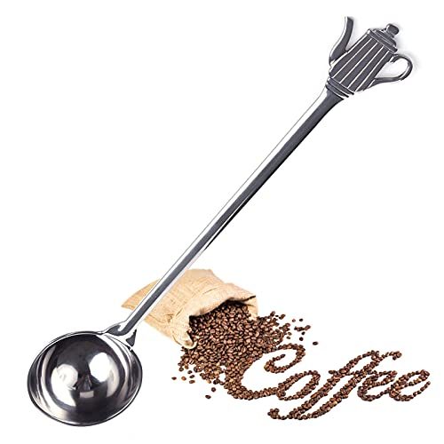 Dosierlöffel Kaffeeschaufel Edelstahl Messlöffel mit Langem Griff Multifunktionaler Kaffeemesslöffel Umweltfreundlich und Langlebig Kaffeeschaufel für Tee, Kaffee, Cappuccino, Kakao, Espresso—Silber