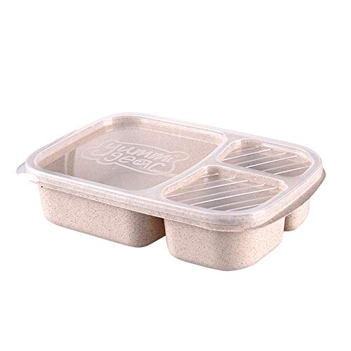TIFENNY Microwave Lunch Box Picnic Food Fruit Container Storage Box for Kids Adult Convenience Lunch Box Beige