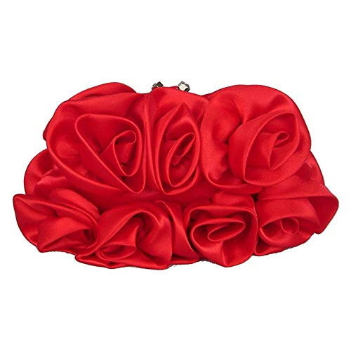 XBTMY Roseta de satén for Mujer Dama de Honor Nupcial Embrague Flor Pulsera Bolso de Boda Anillo de Diamantes de imitación Manija Bolso de Noche (Color : B)