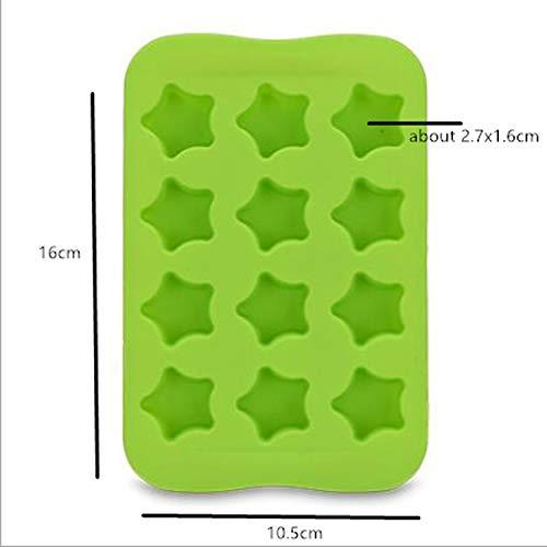 Rostfrei 12 Gitter Silikon Schokoladenform Tablett Kreative Stern/Herz/Runde/Quadrat geformte Eiswürfel Kuchen Dekoration Form-Star-