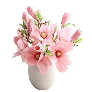 Mynse 5 Pieces Fake Flowers Magnolia Denudata for Home Birthday Party Office Decoration Artificial Flowers Leaf Magnolia Floral Pink