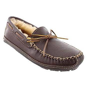 Minnetonka Men s Sheepskin-Lined Moose Slippers 11 M Chocolate