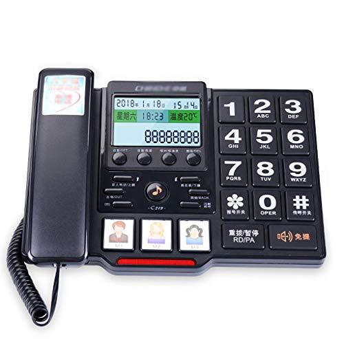 Gib niemals auf Älteres Telefon Familie zu Hause Laute Stimme großen Ring großen Knopf Sprachbericht Festnetz-Telefon (Color : Black)