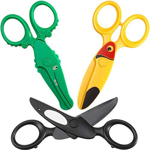 3 Pieces Toddler Safety Scissors in Animal Designs, Kids Preschool Training Scissors Child Plastic Art Craft Scissors for Paper-Cut (Dolphin, Crocodile and Toucan Bird)