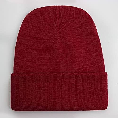 Gorro Unisex sólido Otoño Invierno Mezclas Gorra de Punto Suave y cálida Hombres Mujeres Sombreros Gorras de esquí Gorro Gorros de 24 Colores-Wine Red