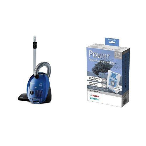 Siemens Bodenstaubsauger EEK C (CompressorTechnology, 4 L, HEPA Hygienefilter) blau + Staubsaugerbeutel PowerProtect (Type G All, außer VS01)