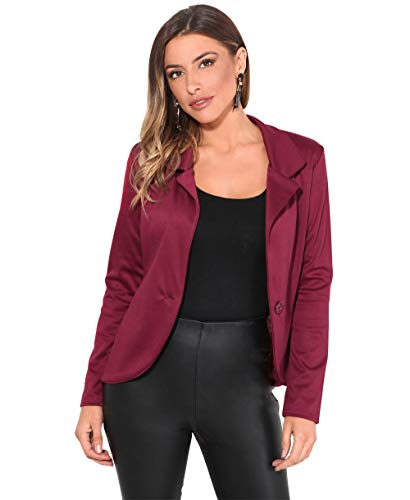 KRISP Smart Casual Stoff Fashion Blazer (Weinrot, Gr.40) (3558-WIN-12)