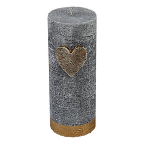 Kerze Stumpenkerze rustikal Golden Heart Vintage Shabby Chic grau 60/150 mm Art. 5407